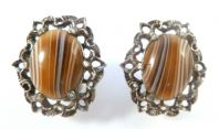 Vintage Striped Faux Agate,  Art Glass,  Clip On Earrings By  Miracle.